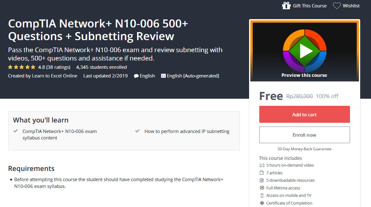 Comptia Network N10 006 500 Questions Subnetting Review