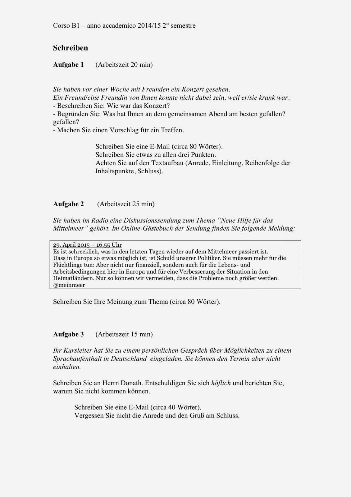 Deutsch Als Fremdsprache Prüfungsvorbereitung B1