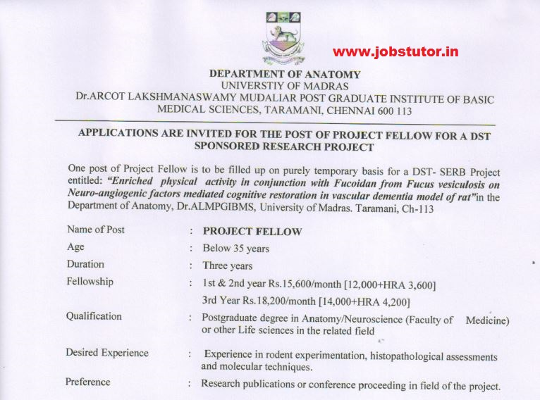 University Of Madras Recruitment Of Project Fellow Last Date 3011