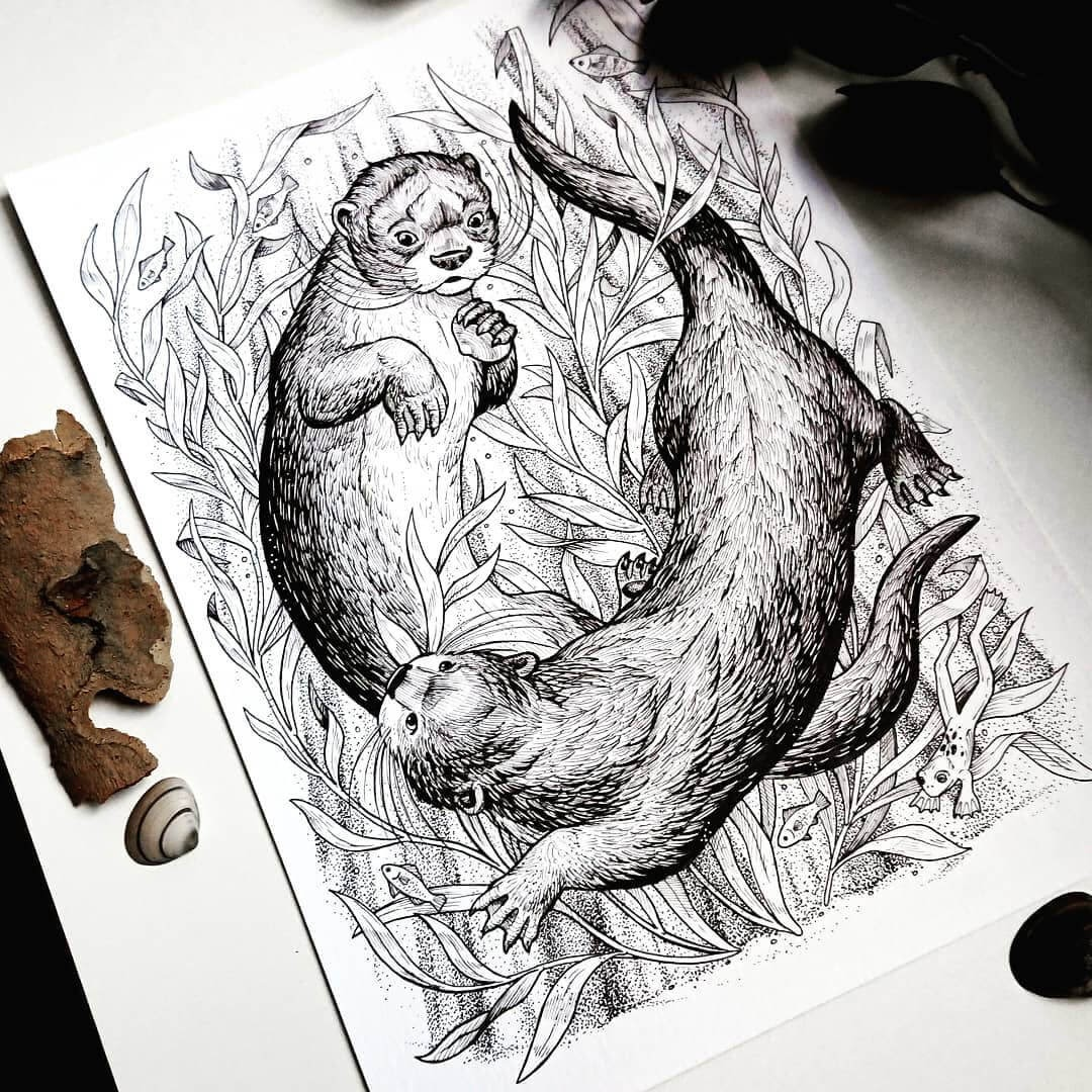 10-Playful-Otters-Weronika-Kolinska-Black-and-White-Animal-Ink-Drawings-www-designstack-co