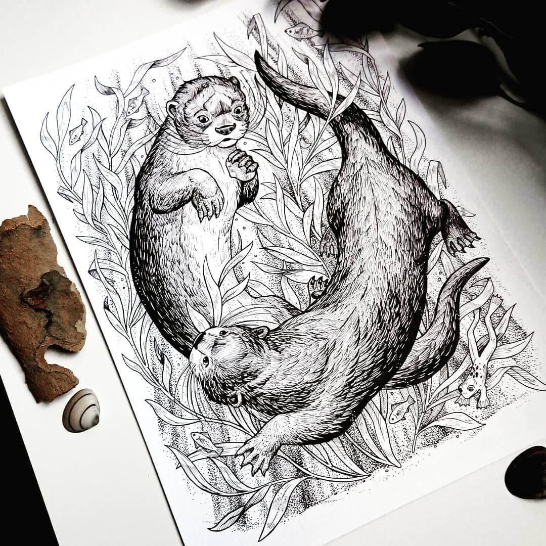 10-Playful-Otters-Weronika-Kolinska-Black-and-White-Animal-Ink-Drawings-www-designstack-co