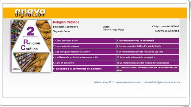 """Anaya Digital: """"Religión Católica de 2º de E.S.O."""""""