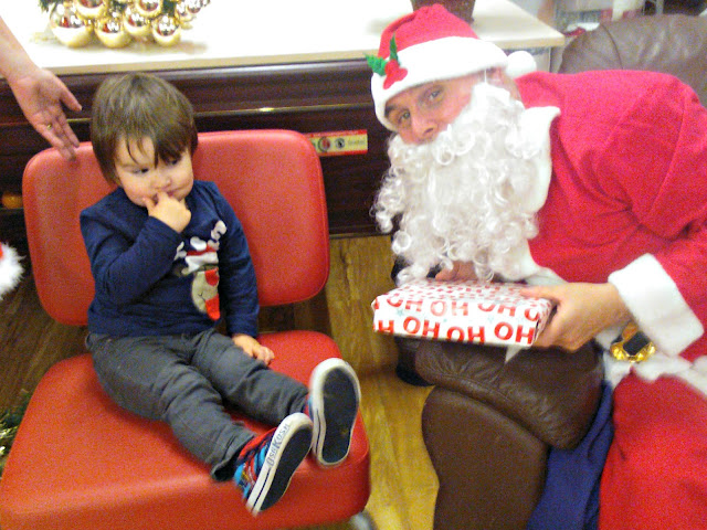Boy Shy Meeting Father Christmas Santa Claus