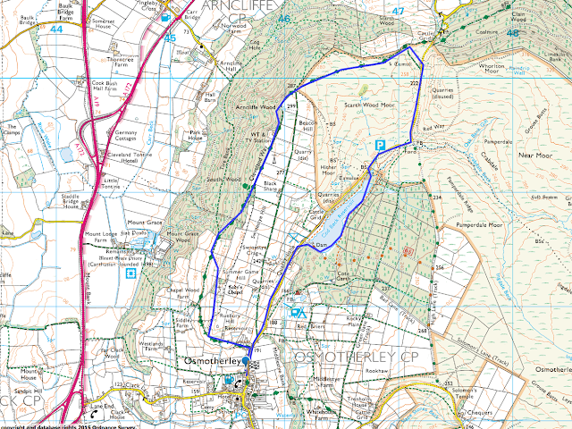 Map route of this Osmotherley Circular Walk (clockwise), starting and finishing in Osmotherley, and walking on some of the Cleveland Way Route
