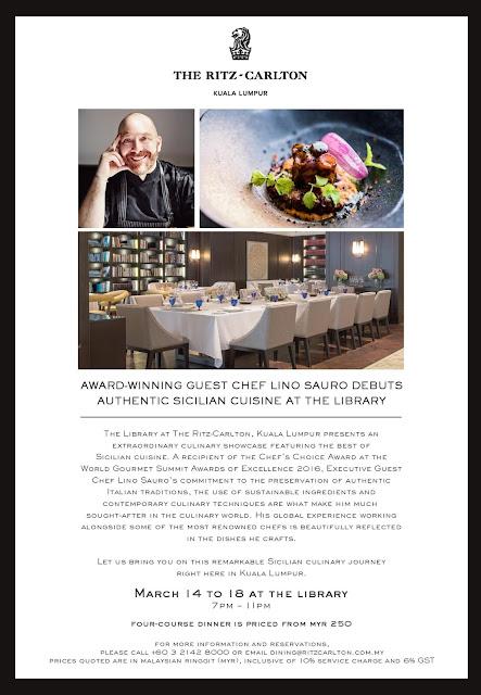 Executive Guest Chef Lino Sauro Debuts Sicilian Dinner Showcase At The Ritz-Carlton, Kuala Lumpur