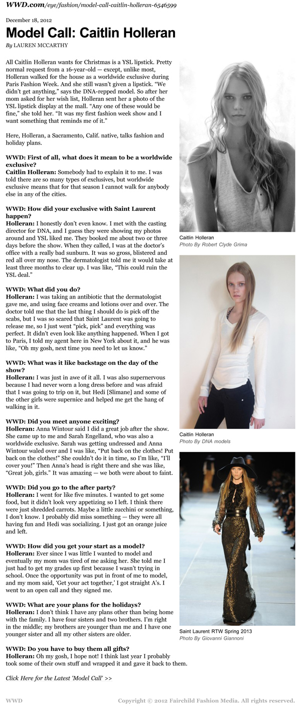 Caitlin Holleran - Cast Images Model - San Francisco - New York - WWD