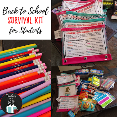 Back to School Survival Kit for Students from Teaching Is A Gift