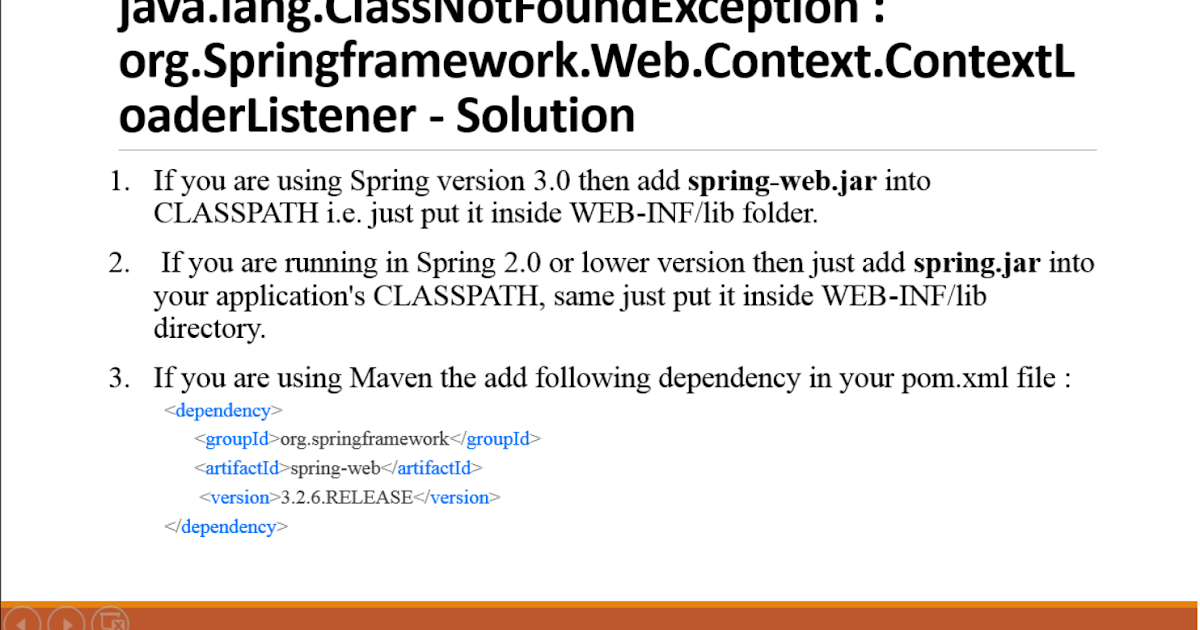 java lang ClassNotFoundException: org Springframework Web Context