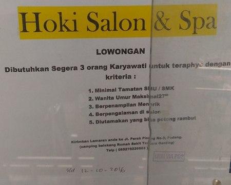 Lowongan Kerja di Padang – Hoki Salon & Spa – Karyawati (Penutupan 12 Okt.2016)