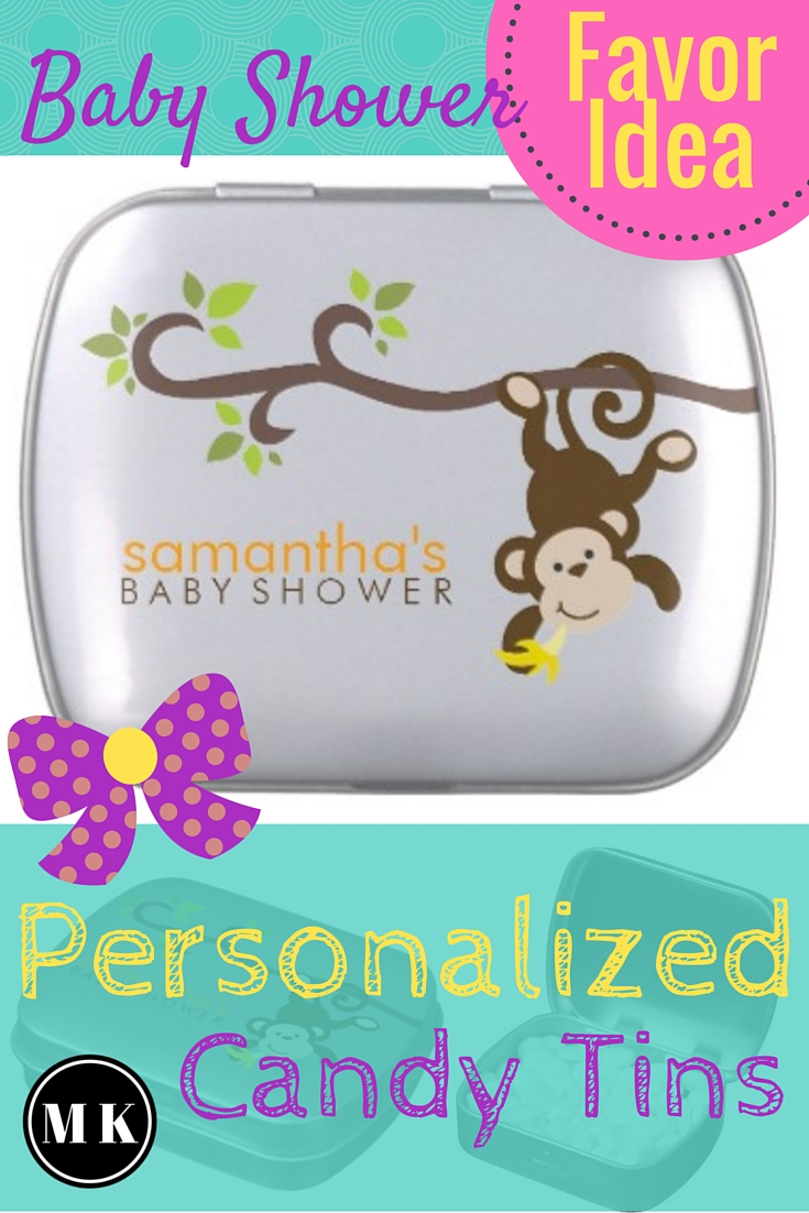 Personalized Jelly Belly Baby Shower Favors – These candy tins are such a cute baby shower party gift idea for your guests! They're great because they're unisex and can be used for a baby girl or boy shower. I love the monkey graphic on the tins too! These would be perfect for a safari or jungle animal theme party. The fun part about ordering these is picking a mint or jellybean flavor! Which flavor will you choose?
