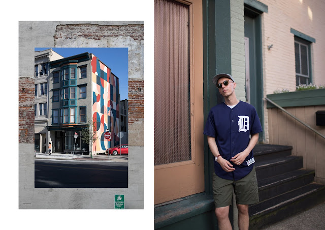 street art around easton PA and wearing detroit tigers mlb cool base jersey by majestic athletic