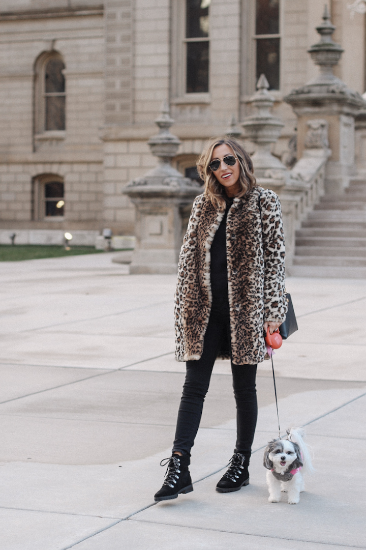 65c67497818a Faux Fur Leopard Coat - Chic Winter Outfit ~ Lilly Style