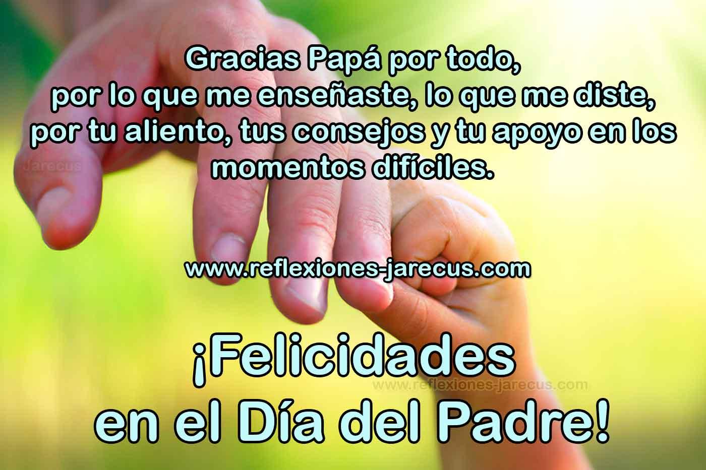Gracias papá por todo, por lo que me enseñaste, lo que me diste, por tu aliento, tus consejos y tu apoyo en los momentos difíciles. ¡Felicidades en el día del padre!