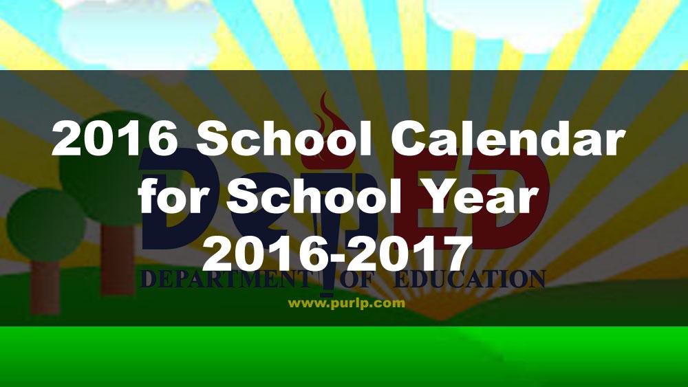 2016 School Calendar for School Year 2016-2017 (PDF)