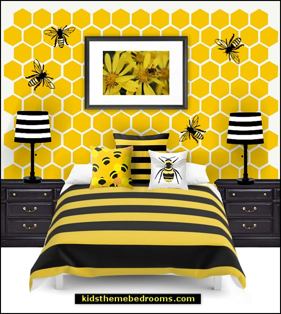 bee theme bedroom  bumble bee bedrooms - Bumble bee decor - Honey bee decor - decorating bumble bee home decor - Bumble Bee themed nursery - bee wallpaper mural decals - Honeycomb Stencil - hexagonal stencils - bees in springtime garden bedroom -  bee themed nursery - black yellow bedroom ideas - Hexagon pattern -