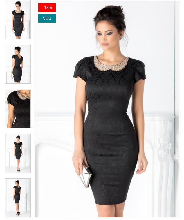 Rochie neagra eleganta  Textura din brocart  Crepeu la spate  Colier accesoriu  Maneci cu pliur