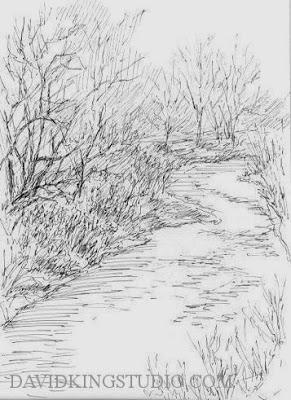 art ink pen sketch nature tree jordan river parkway