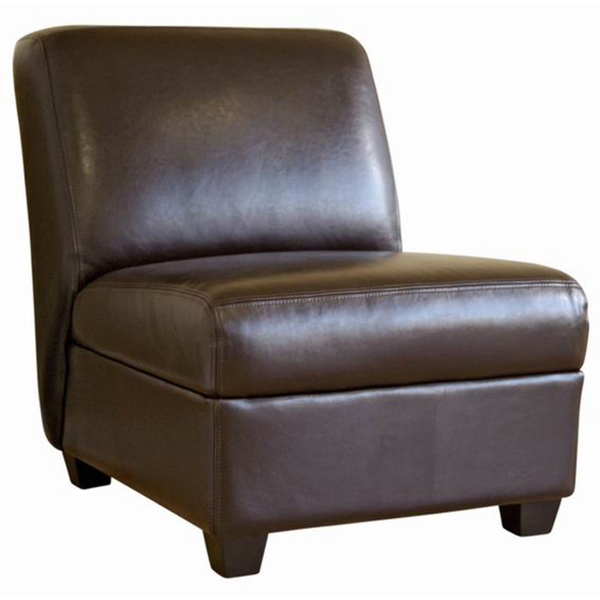 Crate and Barrel Axis Leather Armless Chair  Decor Look