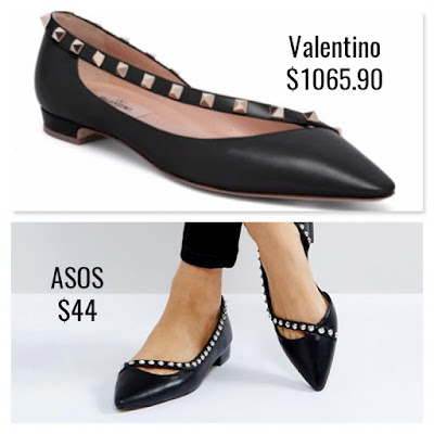 Designer Dupes Look For Less Valentino Rockstud Leather D'Orsay Flats ASOS