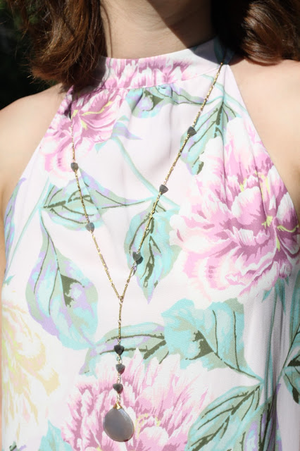 Floral dress, statement necklace