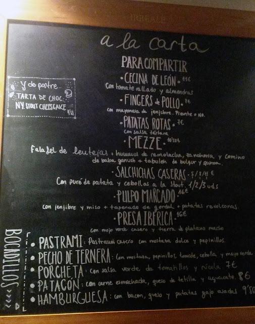 Carta de comida del Irreale cervezas, Tusolovive Madrid
