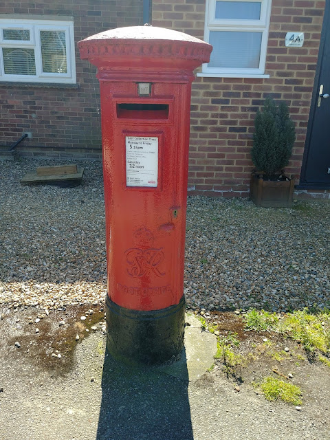 Photograph of Pillar box GR at the junction of Roestock Lane and Tollgate Road, Roestock Image from the North Mymms History Project released under Creative Commons