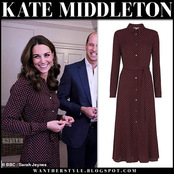Kate Middleton in burgundy polka dot maxi shirt dress whistles royal style october 19 duchess of cambridge