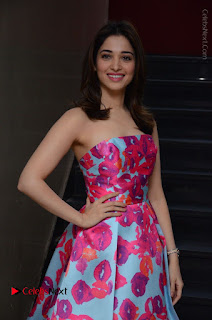 Actress Tamanna Latest Images in Floral Short Dress at Okkadochadu Movie Promotions  0029.JPG