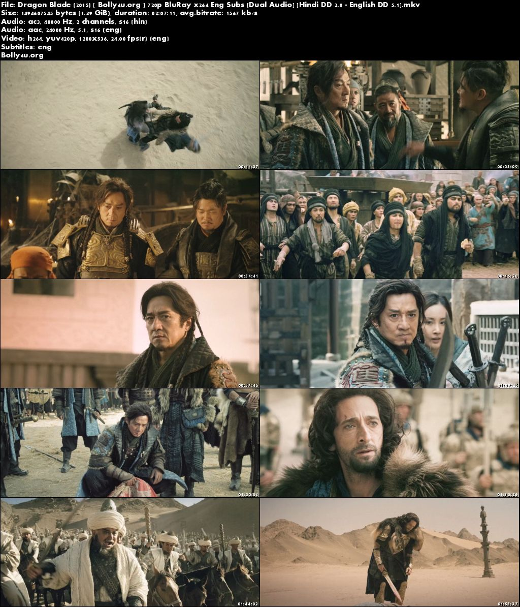 Dragon Blade 2015 BluRay 400MB Hindi Dubbed Dual Audio 480p Download