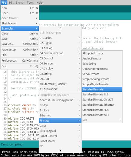 IDE Arduino selecionando o exemplo firmata