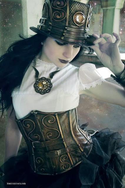 top hat corset blouse skirt