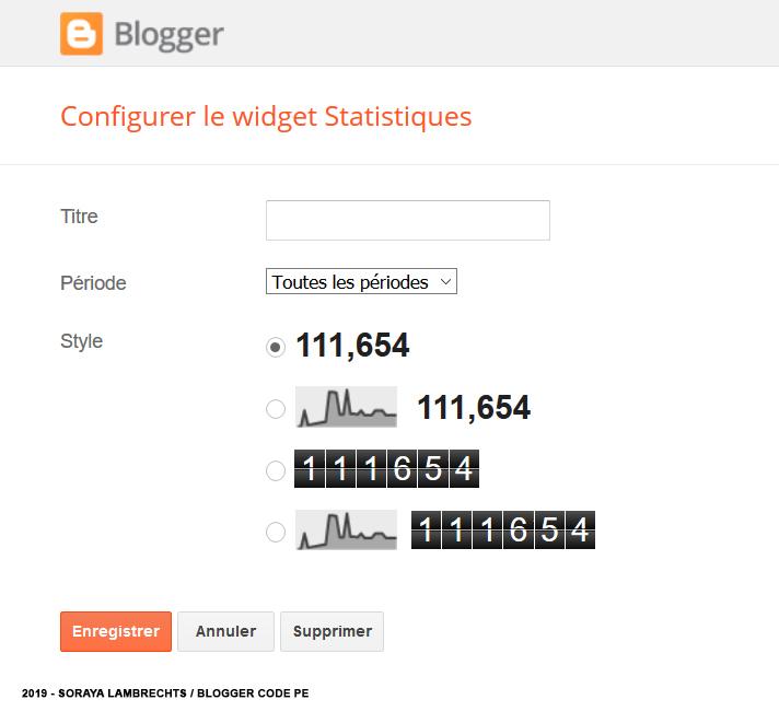 Le panneau de configuration du gadget Statistiques du blog