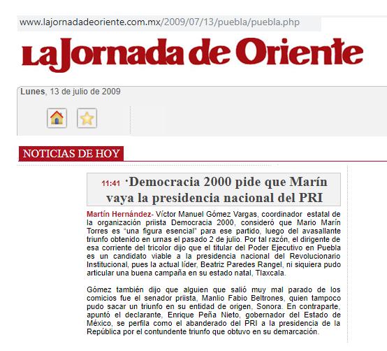 Quieren a Marín en la presidencia nacional del PRI
