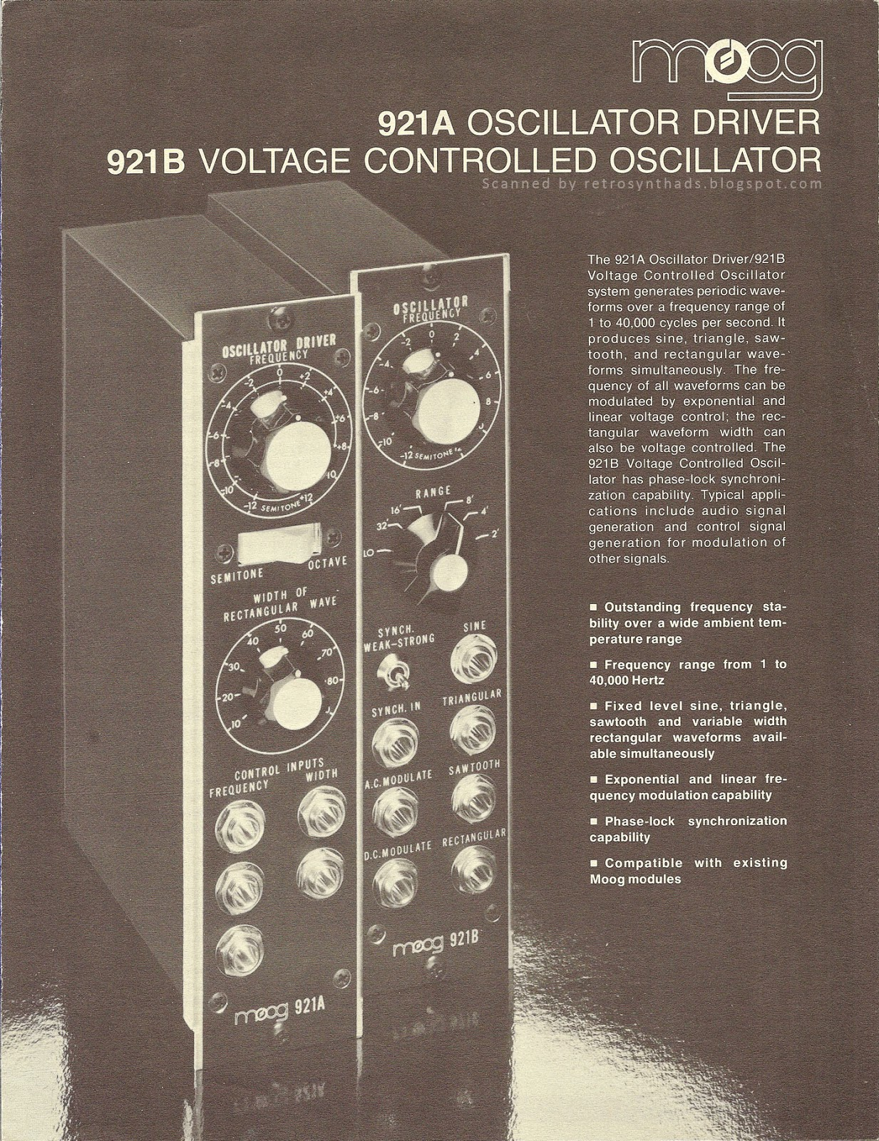 Retro Synth Ads Moog 921a Oscillator Driver 921b Voltage Controlled Oscillatorcircuit Signalprocessing Brochure 1976