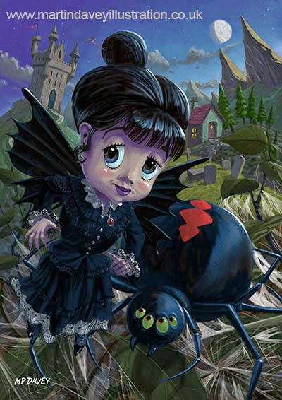 Goth girl fairy with spider widow-digital goth painting