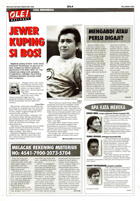 LIGA INDONESIA: JEWER KUPING SI BOS