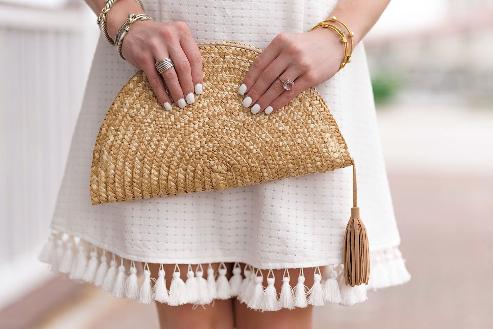 Tassel Hem White Dress + Half-Moon Clutch - Something Delightful Blog