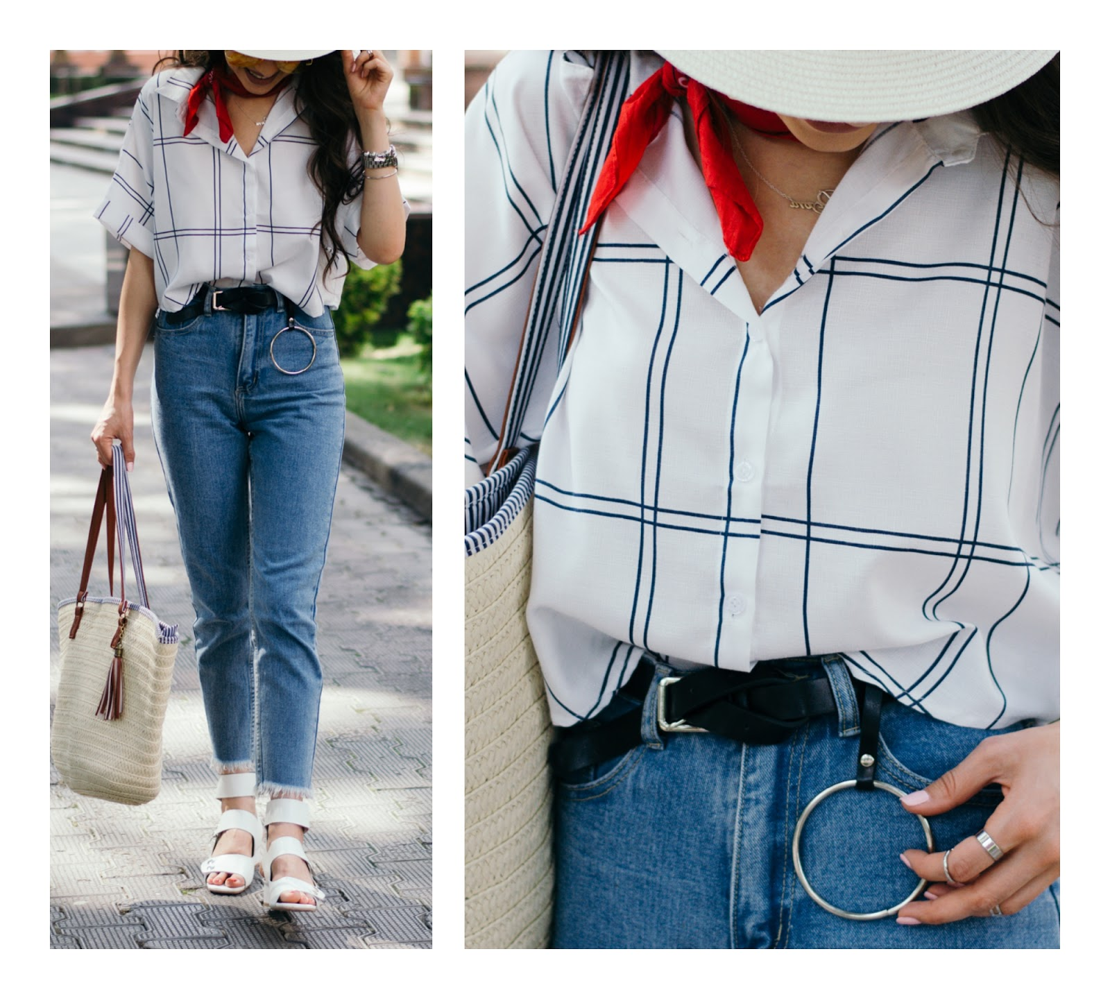 fashion blogger diyorasnotes diyora beta style casual outfit mom jeans shirt straw hat straw bag red bandana asos