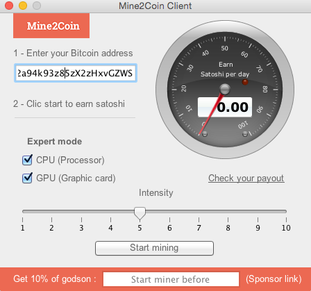 mine2coin mining speed