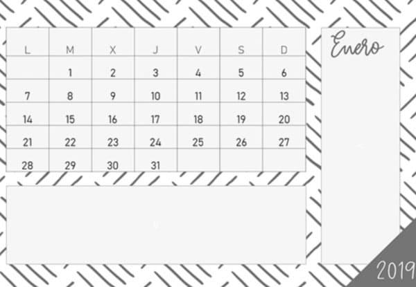 Calendario 2019 en PDF gratuito en color blanco, negro y gris