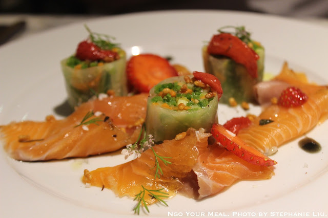 Banka trout gravlax , Maki of Vegetables, Strawberry Chutney (Truite Banka Gravlax, Maki de Legumes, Chutney Fraise) at Semilla