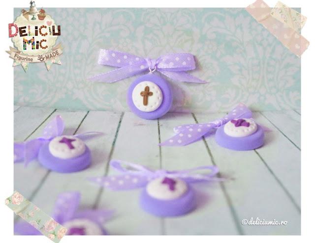 cocarde pentru botez lila violet