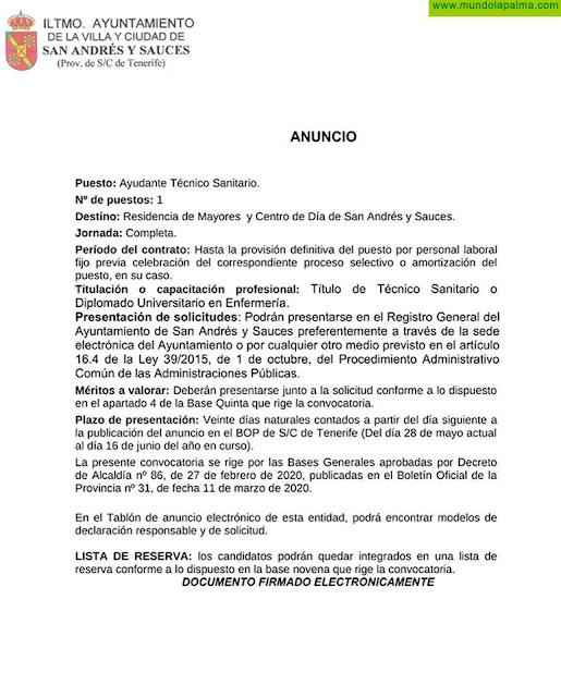 Puesto de Ayudante Técnico Sanitario para La Residencia de Mayores y Centro de Día de San Andrés y Sauces