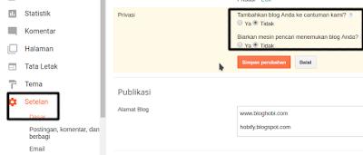 Setelan Privasi Blogger