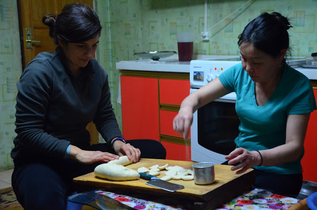 Learning to make Mongolian dumplings at a homestay