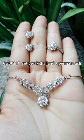 Set perhiasan perak Thailand + permata asli kode:02052015-3