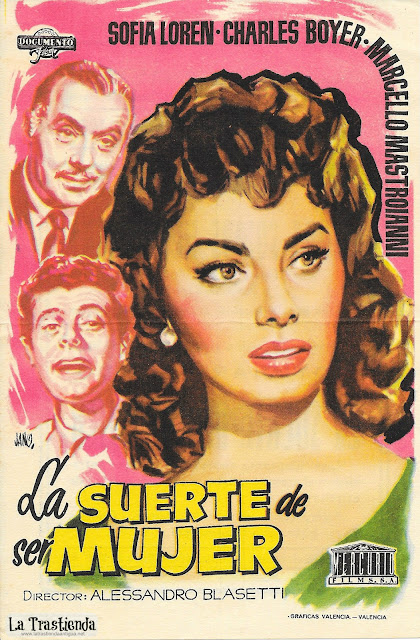 La Suerte de ser Mujer - Programa de Mano - Sofia Loren - Charles Boyer - Marcello Mastronianni