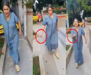 Mujer que amenazó con cuchillo a un taxista ahora agredió a periodista
