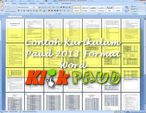 Contoh Kurikulum Paud 2013 Format Word