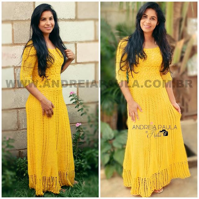 Lindo vestido longo de crochê amarelo